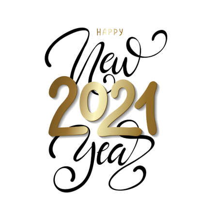 2021 Happy New Year. Script text hand lettering. Christmas decoration.