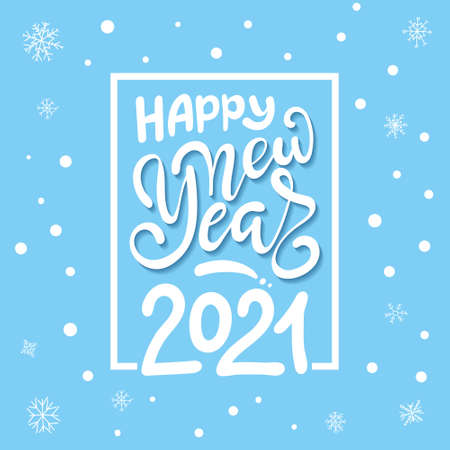 2021 Happy New Year. Script text hand lettering. Christmas decoration. Celebrate party 2021. 向量圖像