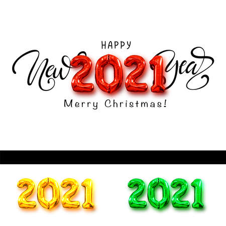 Happy New Year script text hand lettering. New year and Christmas concept.