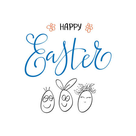 Happy Easter lettering card. Simple Easter greeting card with Easter Eggs and handwritten tex
