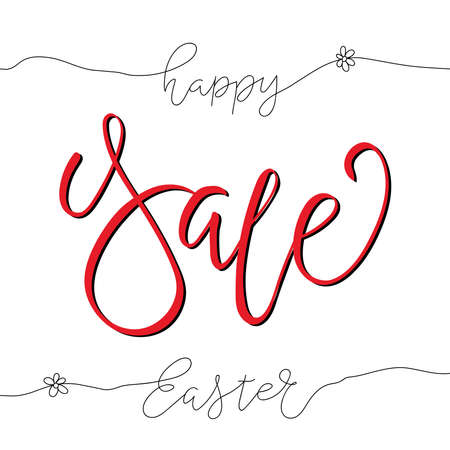 Easter Sale design greeting card with handwritten text for advertising, banners, leaflets, flyers 向量圖像