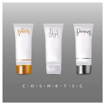 Set of the realistic empty packages for a luxury cosmetic products.