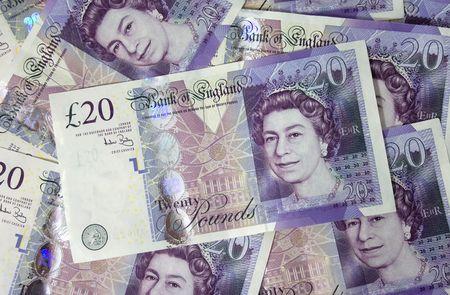 Twenty pounds notes background