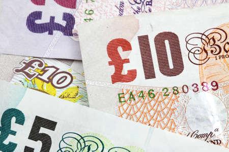 Plusieurs billets british comme fond d'argent Banque d'images