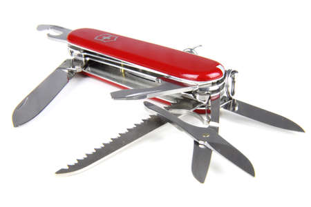 Opened red swiss army knife isolated on white background Stock Photo