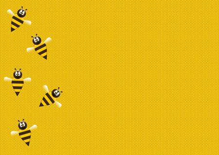 yellow illustration of bees on sweet honeycomb Stock Photo