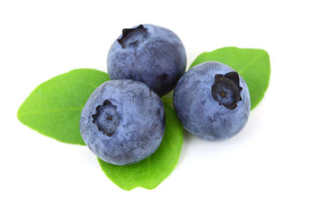 fresh blueberry with leaves isolated on white background  Stock Photo