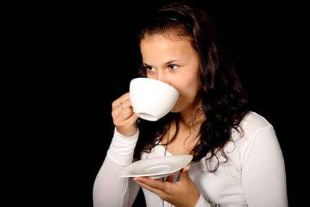 jeune femme d'une tasse de th� Banque d'images