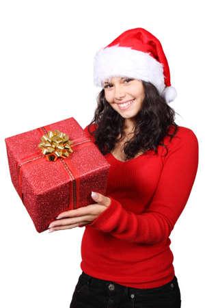 cute santa handing a christmas gift