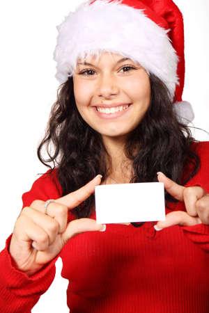 Cute Santa Claus la tenue d'une carte de visite vierge isol� sur fond blanc
