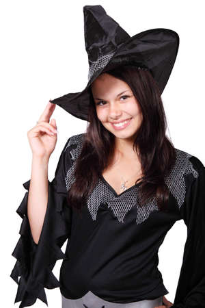 Cute Halloween witch smiling isolated on white background