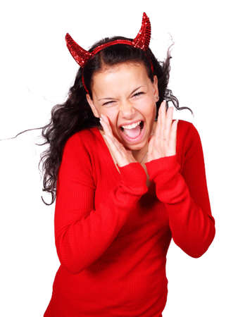 Screaming female devil isolated on white background  Stock Photo