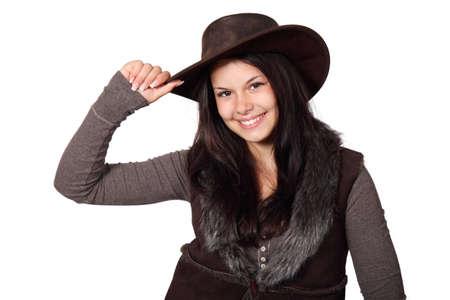 country girl: Fille du pays avec chapeau sourire isol�es sur fond blanc