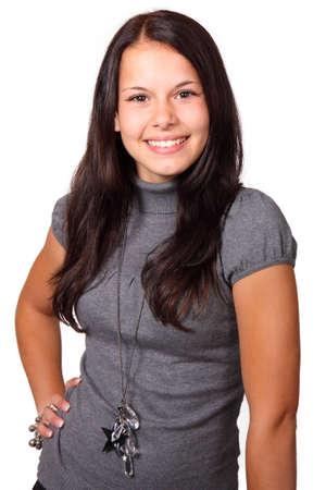 Sourire posant brunette isol�es sur fond blanc  Banque d'images