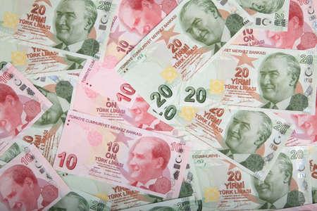 turkish lira banknotes background wallpaper Stock Photo
