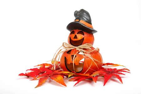 jack-o-lantern halloween decoration with leaves isolated on white background