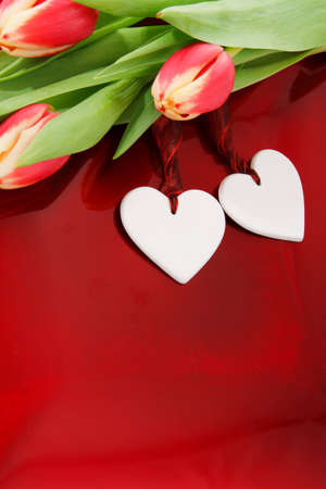 two hearts with colorful tulips on red background