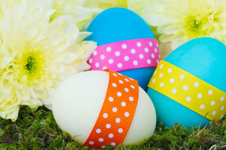 colorful easter eggs and yellow flowers