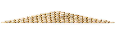 pyramid made of one pound coins isolated on white background Stock Photo