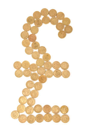 british pound sign made from one pound coins isolated on white background