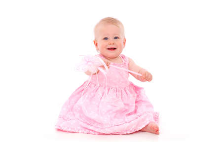 baby girl in pink isolated on white background Stock Photo