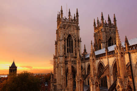 York Minster at sunset in autumn Stock Photo