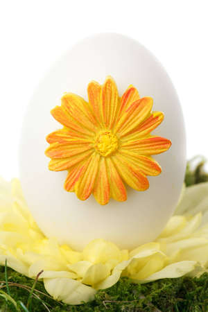 white easter egg with spring decoration isolated on white background Stock Photo