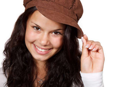young positive smiling woman wearing a brown hat isolated on white background Stock Photo