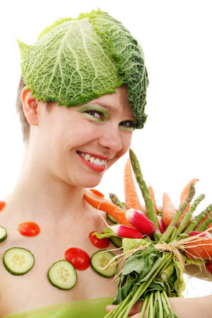 young woman wearing colorful vegetable isolated on white background