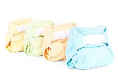 four colorful nappies isolated on white background