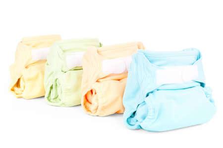 reusable: quattro pannolini colorato isolato su sfondo bianco Archivio Fotografico