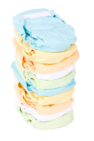 stack of diapers isolated on white background photo