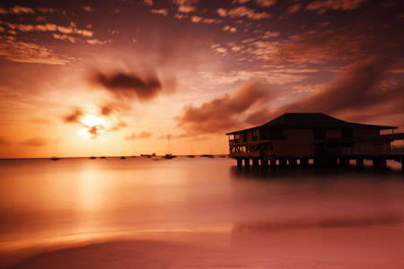 orange sunset at Grand Barbados Beach using Big Stopper filter