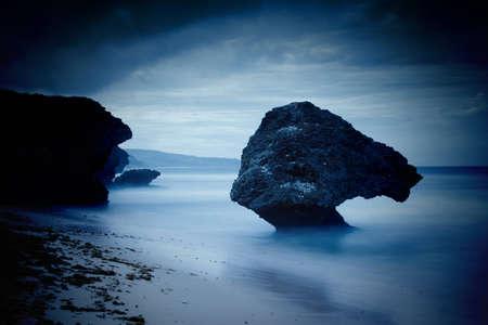 rock in the sea at Bathsheba in Barbados