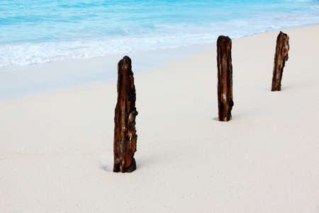 Three rusty sticks on the white beach Stock Photo
