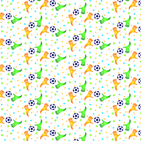 Vector pattern with football and colorful hand  Ilustração