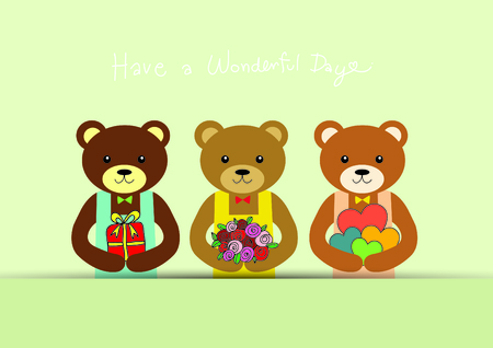 Bears hold flower, gift, heart with massage have a wonderful day