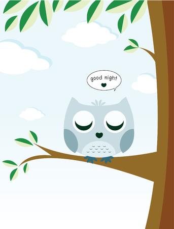 Sleeping owl on tree with massage good night