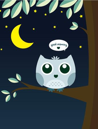 달 나무에 올빼미와 마사지 좋은 아침 벡터 만화 스타 일러스트