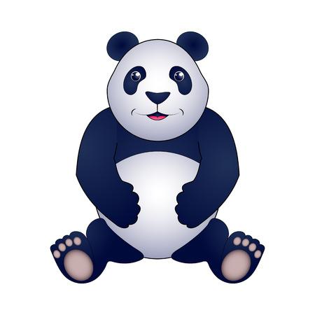 Panda vector illustration, isolated on white background.