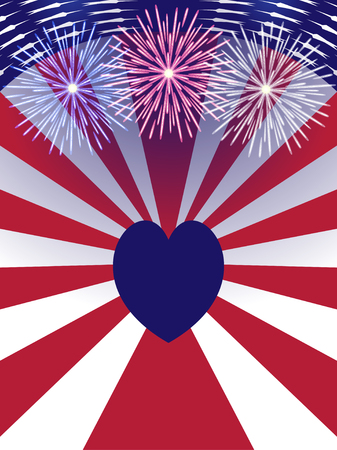 Independence Day USA background with heart. Illustration