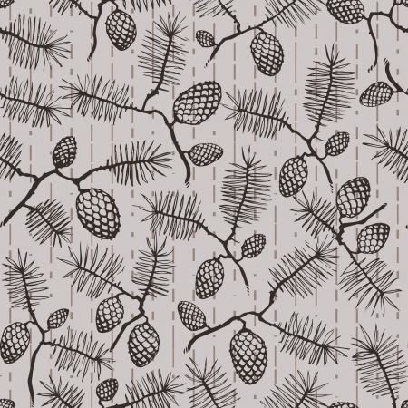conifer: seamless texture pattern with fir cones and twigs  spruce