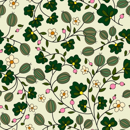 seamless texture with gooseberry and leaves on a light background