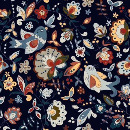 nahtlose Textur mit Vögeln und Blumen auf einem dunklen Hintergrund Illustration