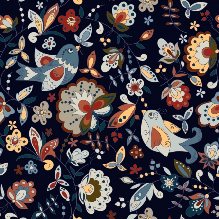 seamless texture with birds and flowers on a dark background