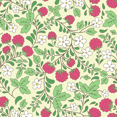 seamless texture with raspberries and green leaves Illustration