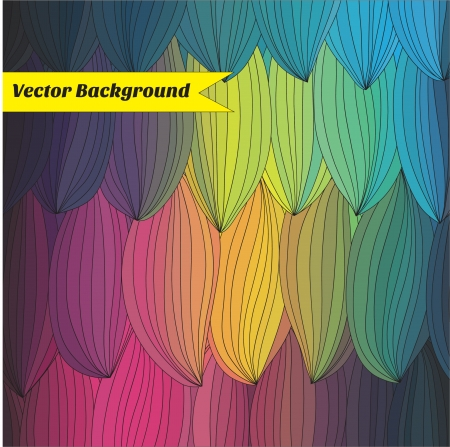 abstract colored background with a black outline drawing Vector
