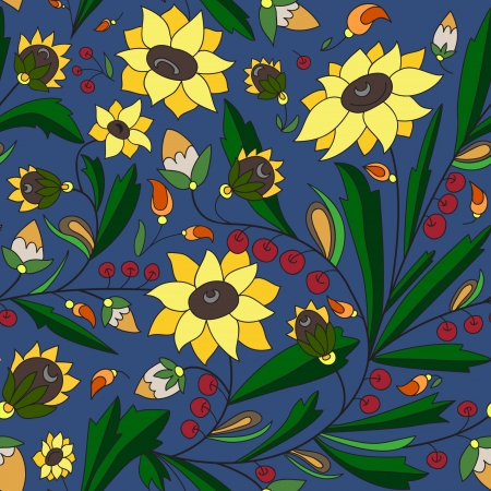 seamless texture with sunflowers and leaves on a blue background Vector