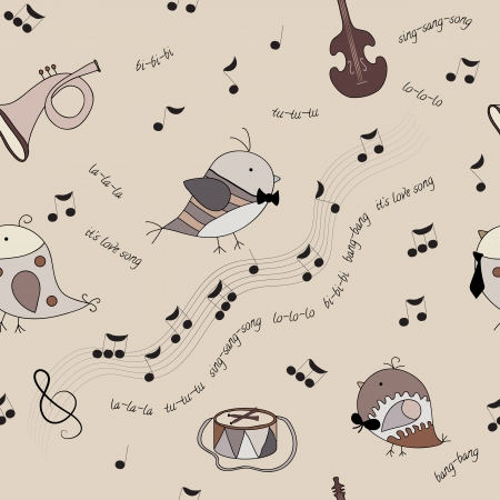 seamless texture with birds, musical instruments, notes, song  Warm coffee tone  Beige background  Use as background or pattern Vector