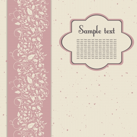 vignette for text or postcard in pink and beige colours with floral ornament   Illustration